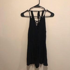 Black Lace-Up Romper
